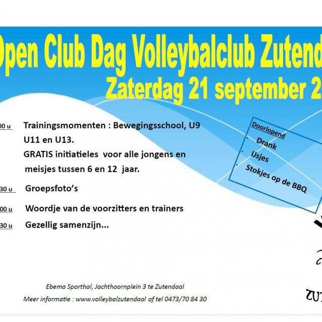Open Club Dag 21/09/2019